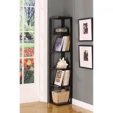 home organization tall black wood corner book shelf on gray wall