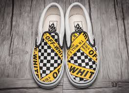 amac custom amac customs white x vans caution slip on skate shoes vans431