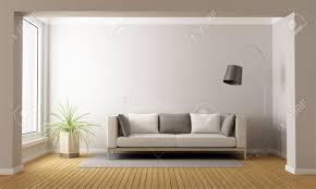 Livingroom Sofa Minimalist Living Room With Sofa On Carpet 3d Rendering Stock