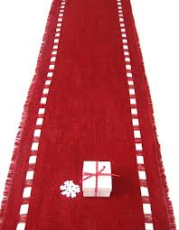 burlap christmas table runner birthday red burlap table runner with satin ribbon lush color