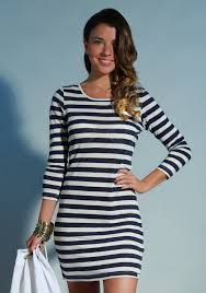 100 linen striped long sleeve dress in navy and white shop
