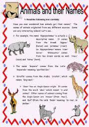 english teaching worksheets animals reading