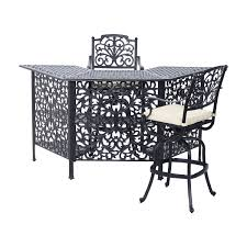 Patio High Dining Table by Aosom Outsunny 3 Piece Cast Aluminum Outdoor Patio Bar Height