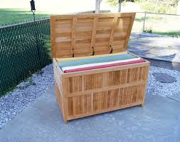 Wood Bench Plans Deck by Teak Outdoor Patio Deck Storage Box For Outdoor Furniture Cushions