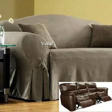 Reclining Sofa Slip Cover Reclining Sofa Slipcover Ribbed Texture Chocolate Adapted For Dual