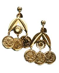 arabian earrings adults womens desert arabian princess gold coin earrings costume