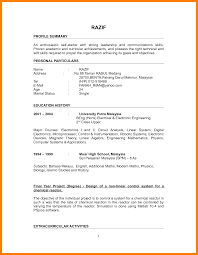 Education History Resume Sample Resume For Fresh Graduate Without Work Experience Free