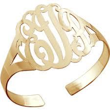 Monogram Bangle Bracelet 14k Gold Vermeil 3 Initial Lace Monogram Cuff Bracelet Polyvore