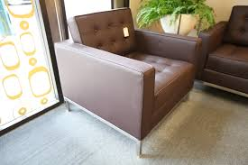 knoll leather replica single seat chair brown 32x32 u2013 consign