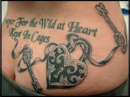 traditional lock with key design with quotes tattoomagz