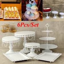 gold wedding cake stand 6pcs set white gold pearl metal cake stand cupcake dessert
