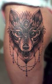 wolf front thigh tattoo ideas pinterest thighs wolf and