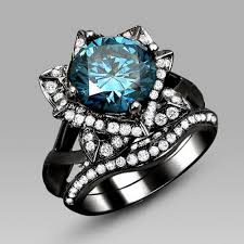 black and blue wedding rings black flower style blue cut cubic zirconia engagement ring