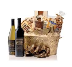 chocolate gift basket golden wine and chocolate gift basket