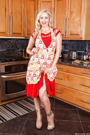 Red Milf Kitchen - stunning blonde milf with red lips uncovering her goods in the