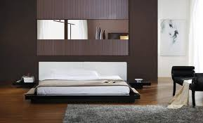 asian inspired contemporary low profile platform bed in black