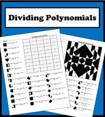 dividing polynomials color worksheet by aric thomas tpt