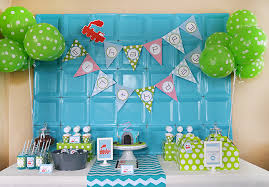 birthday party ideas green blue modern birthday party pizzazzerie
