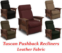tuscan three way mission pushback recliner in leather