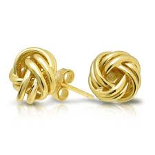 gold studs woven knot stud earrings 925 sterling 9mm