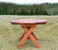 Round Wooden Outdoor Table Round Wood Picnic Table With Wheels Forever Redwood