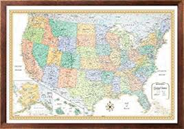 us map framed 32x50 rand mcnally classic united states usa wall map