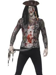 Scary Womens Halloween Costumes Zombie Pirate T Shirt Mens Fancy Dress Halloween Undead Scary