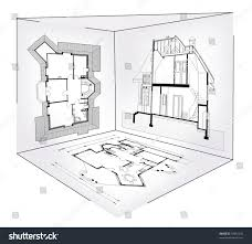 house blue print vector illustration abstract house blueprint inside stock vector