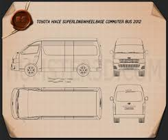 toyota wheelbase toyota hiace wheel base 2012 blueprint hum3d