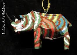 painted soda can animal ornaments indigo arts