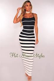 navy blue white striped ribbed knit maxi dress