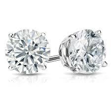 diamond stud earring 14k white gold diamond stud earrings 4 prong