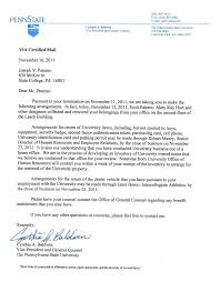 Letter Of Employment Termination by Joe Paterno U0027s Prepared Statement That Was To Be Read At His Final
