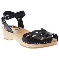 womens black swedish hasbeens ornament clog sandals at soletrader