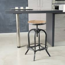 Industrial Counter Stools Round Wood Seat Backless Mixed Iron Based Frame Swivel Counter