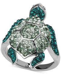 swarovski rings green images Kaleidoscope green swarovski crystal turtle ring in sterling jpg