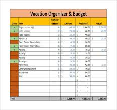 Travel Spreadsheet Excel Templates 9 Vacation Budget Template Free Sle Exle Format