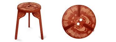 scandinavian design stool wooden stackable red tattoo by