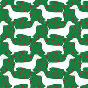 dachshund christmas wrapping paper polka dachshunds christmas green wallpaper robyriker spoonflower