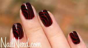 nail nerd nail art for nerds black stamped red sparkle nails