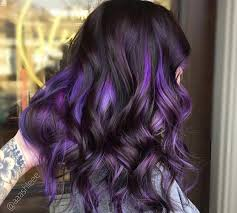 shag haircut brown hair with lavender grey streaks think purple is too bold to work as a hair colour well to