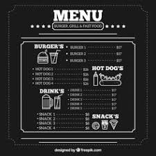 a full vector template chalkboard menu for restaurant and snack