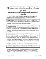 all worksheets compound and complex sentence worksheets