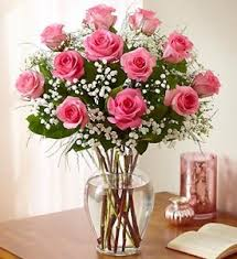 Vases Of Roses 12 Pink Roses Long Stem In New Port Richey Fl Flowers Today Florist