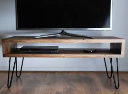 Computer Desk Tv Stand vintage retro box tv stand w metal hairpin legs solid wood