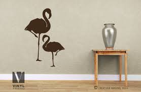 flamingo birds pair standing big and small large wall vinyl decal
