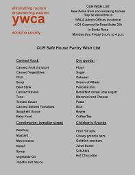 www wish list safe house pantry list ywca sonoma county