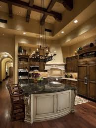 mediterranean kitchen design with high ceiling and luxury lamp