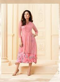 pink color faux georgette embroidery with flower printed kurti