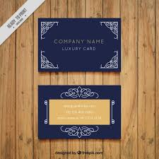 blue business card with decorative ornaments vector premium